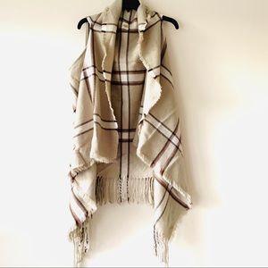 Lildy light taupe plaid drape sweater vest L/XL